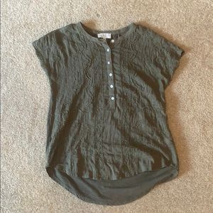 Lucky Brand Olive Green Button T-Shirt